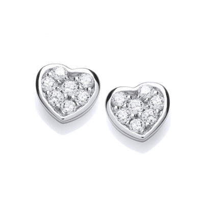Tiny Cubic Zirconia Studded Heart Earrings