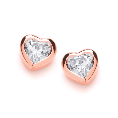 Rose Gold and Cubic Zirconia Solitaire Earrings