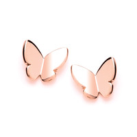 Simple Rose Gold Butterfly Stud Earrings