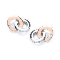 Rose Gold and Silver Linked Ring Earrings