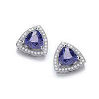 Tanzanite Delight Triangle Stud Earrings