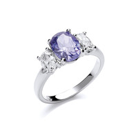 Silver and Cubic Zirconia Blue Beauty Ring
