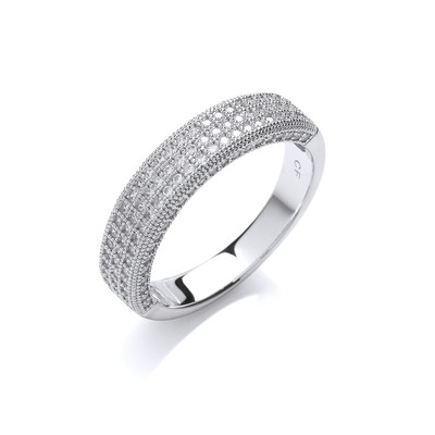 Silver and Cubic Zirconia Triple Band Ring