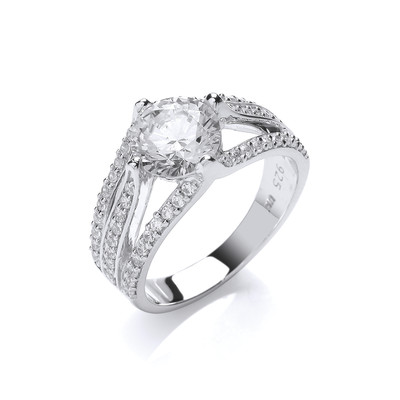 Silver and Cubic Zirconia Elizabeth Ring