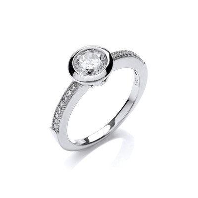 Fine Silver and Cubic Zirconia Solitaire Ring