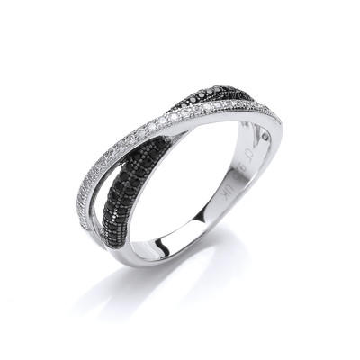 Silver and Cubic Zirconia Crossover Band Ring