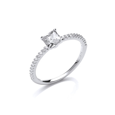 Silver and square cubic zirconia solitaire ring