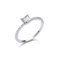 Silver and square cubic zirconia solitare ring