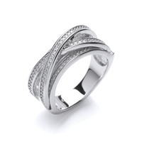 Bold Silver and Cubic Zirconia Crossover Ring