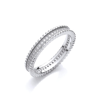 Beaded Beauty Silver and Cubic Zirconia Ring