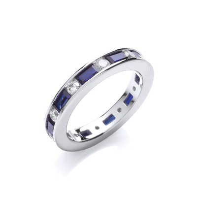 Sapphire Blue and Clear Cubic Zirconia Band Ring
