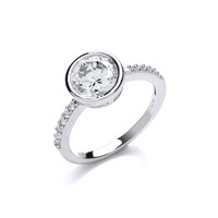 Round Solitaire Ring on Cubic Zirconia Band