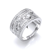 'My Favourite' Silver and Cubic Zirconia Band Ring