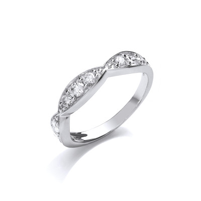 Silver and Cubic Zirconia Sweetie Band Ring