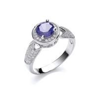 'Sparkling Blue' Silver and Cubic Zirconia Ring