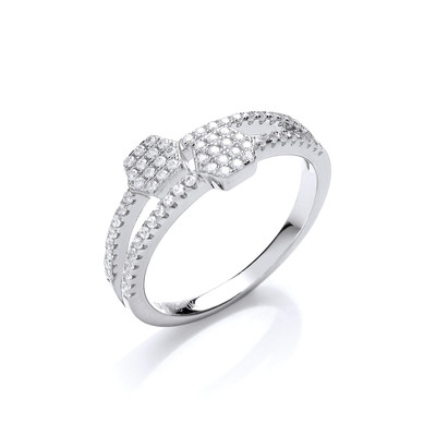 Hexagon Heaven Silver and Cubic Zirconia Ring