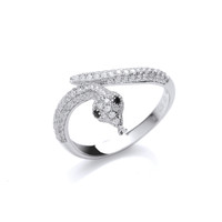 Silver and Cubic Zirconia Snake Ring