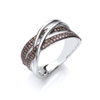 Silver and Coffee Cubic Zirconia Strand Ring