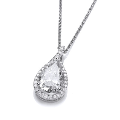 Ornate Silver and Cubic Zirconia Teardrop Pendant