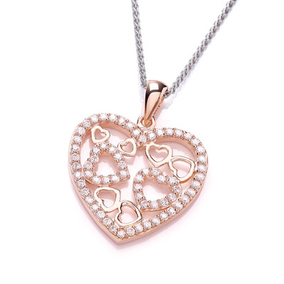 Rose Gold and Cubic Zirconia Heart Pendant