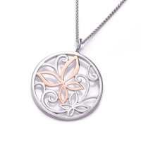 Rose Gold and Silver Butterfly and Flowers Pendant