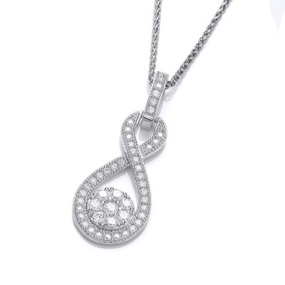 Silver and Cubic Zirconia Figure of Eight Drop Pendant without chain