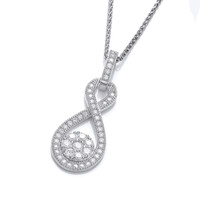 Silver and Cubic Zirconia Figure of Eight Drop Pendant