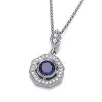 Deco Style Tanzanite and Cubic Zirconia Pendant