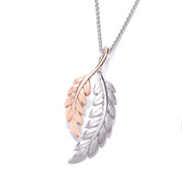 Silver and Rose Gold Feather Pendant