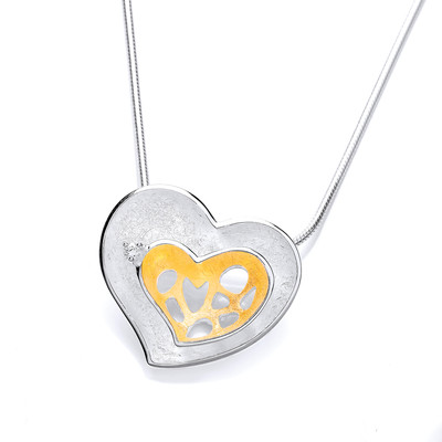 Gold Vermeil Plated and Brushed Silver Double Heart Pendant