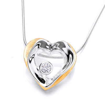 Modern Gold Vermeil Plated and Silver Heart Drop Pendant