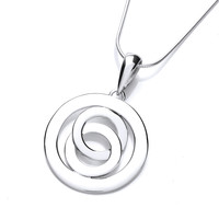Silver Swirls and Circles Pendant