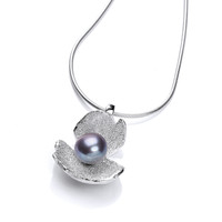 Black Pearl and Silver Crocus Pendant