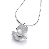 White Pearl and Silver Crocus Pendant
