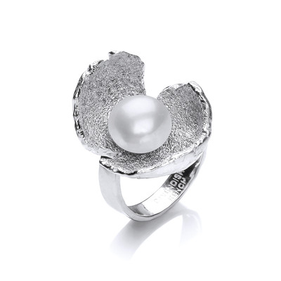 White Pearl and Silver Crocus Ring