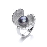 Black Pearl and Silver Crocus Ring