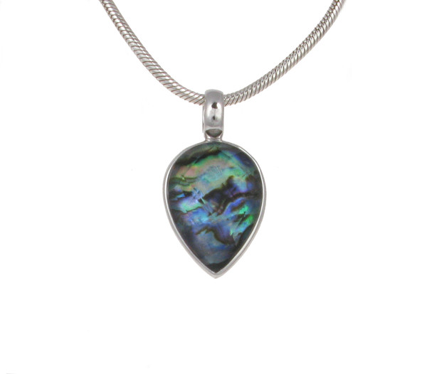 "Abalone Faceted Crystal Top Teardrop Pendant with 18 - 20"" Silver Chain"