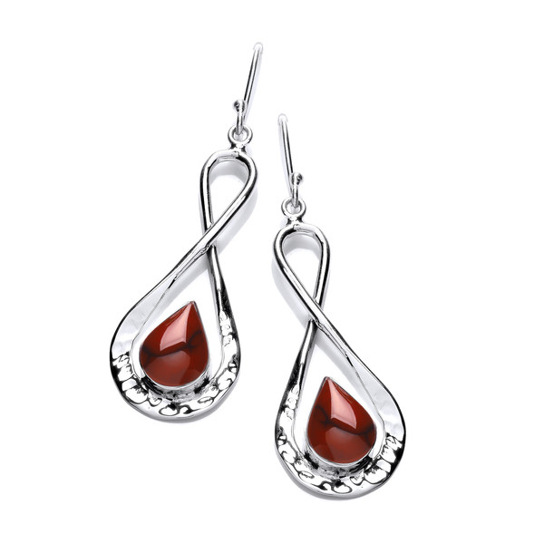 Silver Figure of Eight Earrings with Red Jasper