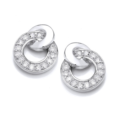 Glitzy Linked Hoops Earrings