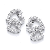Frilly Little CZ Heart Earrings