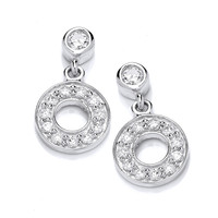 Mini Silver and Cubic Zirconia Polo Earrings