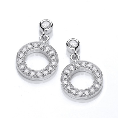 Silver and Cubic Zirconia Polo Earrings
