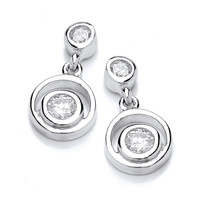 Silver and Cubic Zirconia Double Loop Earrings