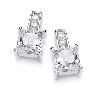 Deco Style Square Cubic Zirconia Earrings