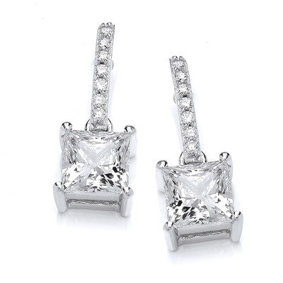 Delicate Square CZ Solitaire Earrings