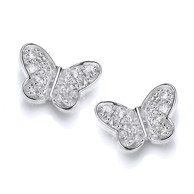 Silver & Cubic Zirconia Butterfly Stud Earrings