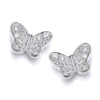 Sterling Silver and CZ Butterfly Stud Earrings