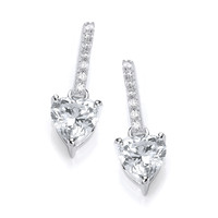 Sparkly Heart Drop Earrings