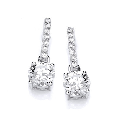Round Cubic Zirconia Solitaire Drop Earrings