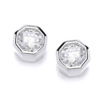 Silver and Cubic Zirconia Octagonal Stud Earrings